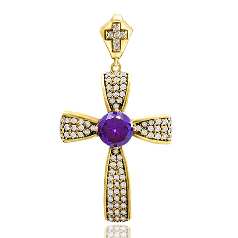 Orthodox Christian Bishop Architectonic Holy Catholic Amethyst Cross Turkish Wholesale Handmade 925 Sterling Silver Jewelry Pendant - Turkishsilverjewelry