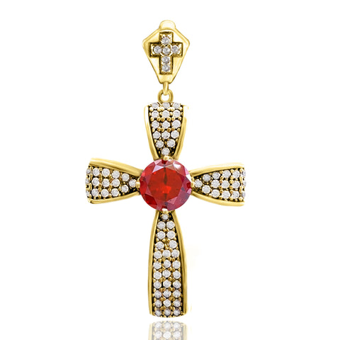 Orthodox Christian Bishop Architectonic Holy Catholic Ruby Cross Turkish Wholesale Handmade 925 Sterling Silver Jewelry Pendant - Turkishsilverjewelry