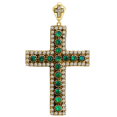 Orthodox Christian Bishop Architectonic Holy Catholic Emerald Cross Turkish Wholesale Handmade 925 Sterling Silver Jewelry Pendant - Turkishsilverjewelry