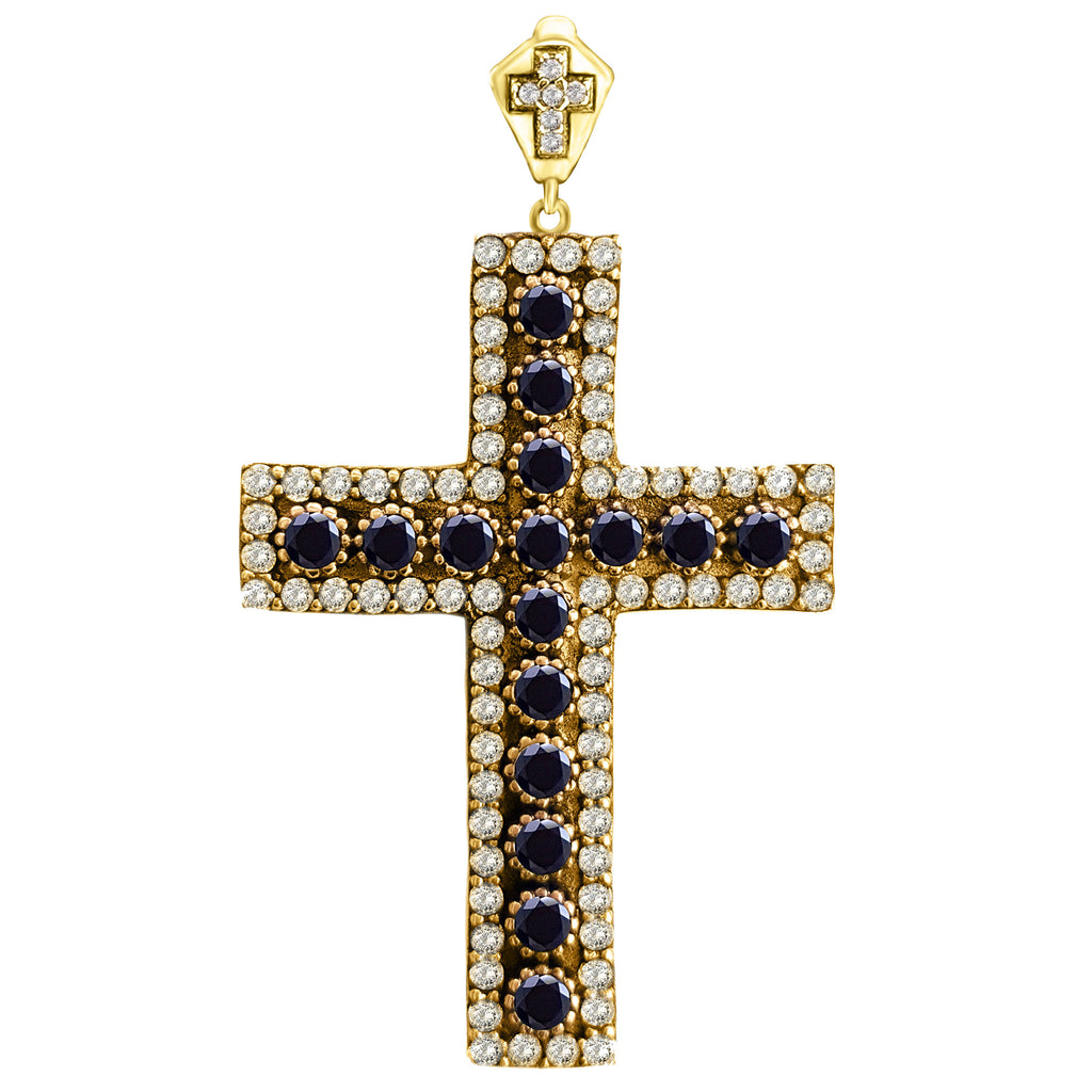 Orthodox Christian Bishop Architectonic Holy Catholic Onyx Cross Turkish Wholesale Handmade 925 Sterling Silver Jewelry Pendant - Turkishsilverjewelry