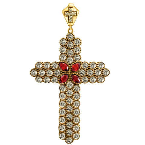 Victorian Holy Catholic Ruby Cross Turkish Wholesale Handmade 925 Sterling Silver Jewelry Pendant - Turkishsilverjewelry