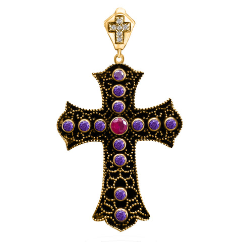 Holy Catholic Topaz Cross Turkish Wholesale Handmade 925 Sterling Silver Jewelry Pendant 2020 - Turkishsilverjewelry