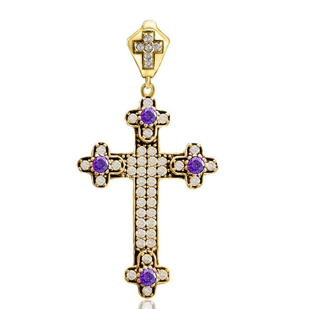 Holy Catholic Amethyst Cross Pendant Turkish Wholesale Handmade 925 Sterling Silver Jewelry 2020 - Turkishsilverjewelry