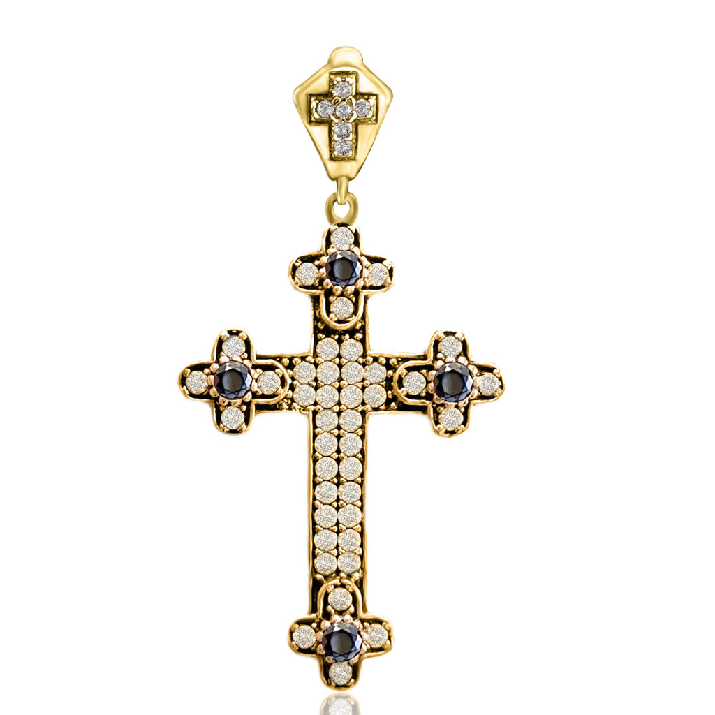 Turkish Wholesale Handmade 925 Sterling Silver Jewelry Holy Catholic Onyx Cross Pendant 2020 - Turkishsilverjewelry