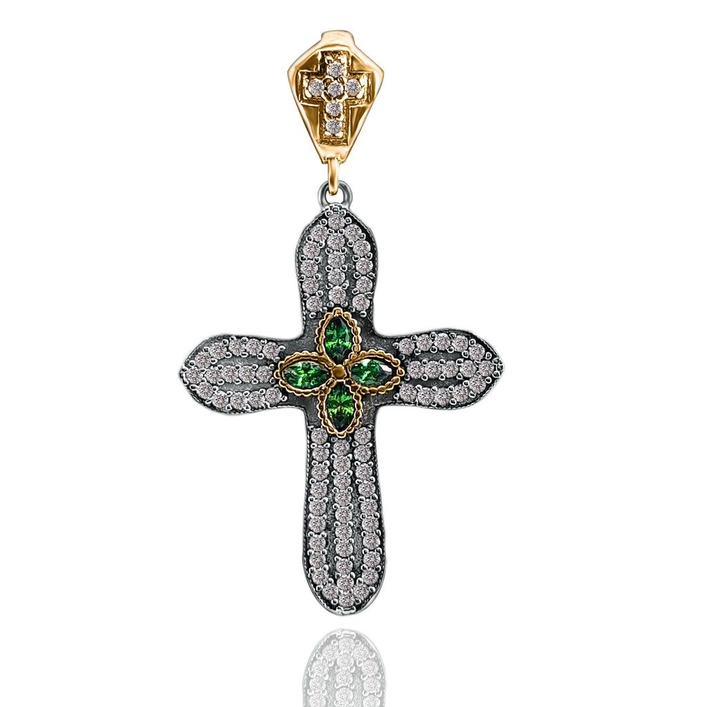 Emerald Topaz Holy Cross Pendant Turkish Wholesale Handmade 925 Sterling Silver Jewelry - Turkishsilverjewelry
