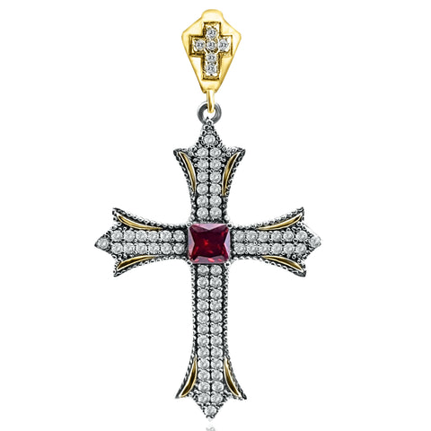 Sapphire Topaz Holy Cross Turkish Wholesale Handmade 925 Sterling Silver Jewelry Pendant - Turkishsilverjewelry