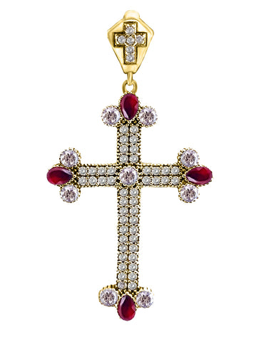 Ruby Topaz Holy Catholic Cross Turkish Wholesale Handmade 925 Sterling Silver Jewelry Pendant - Turkishsilverjewelry
