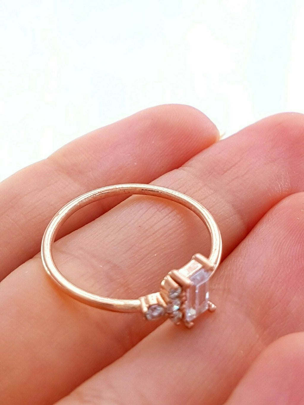 Rose Gold Stackable 2020 Baguette Mini Ring Turkish Wholesale Handmade 925 Sterling Silver Jewelry Gold Plate - Turkishsilverjewelry