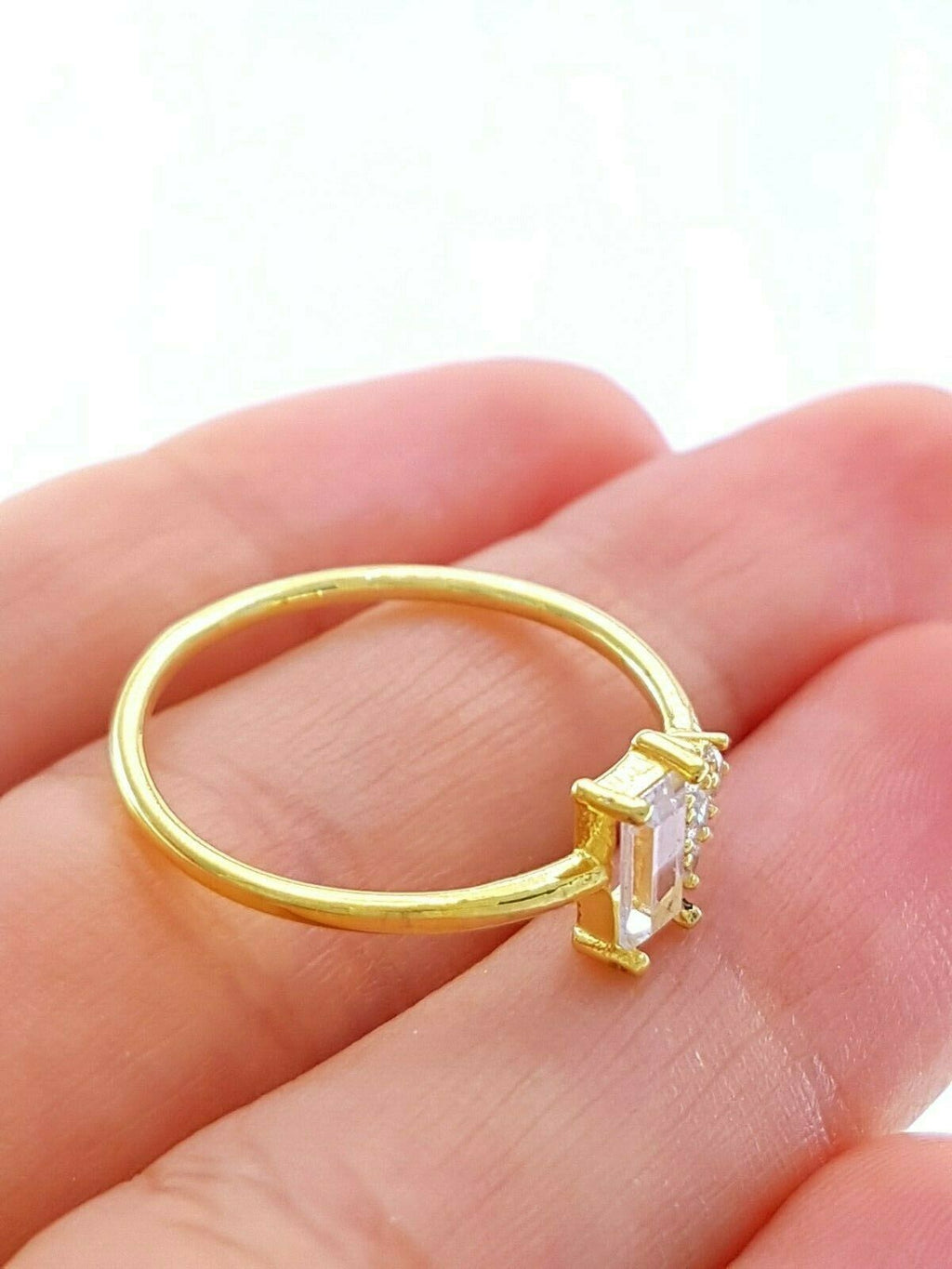 18k Gold Turkish Wholesale Handmade 925 Sterling Silver Jewelry Stackable 2020 Baguette Mini Ring Gold Plate - Turkishsilverjewelry