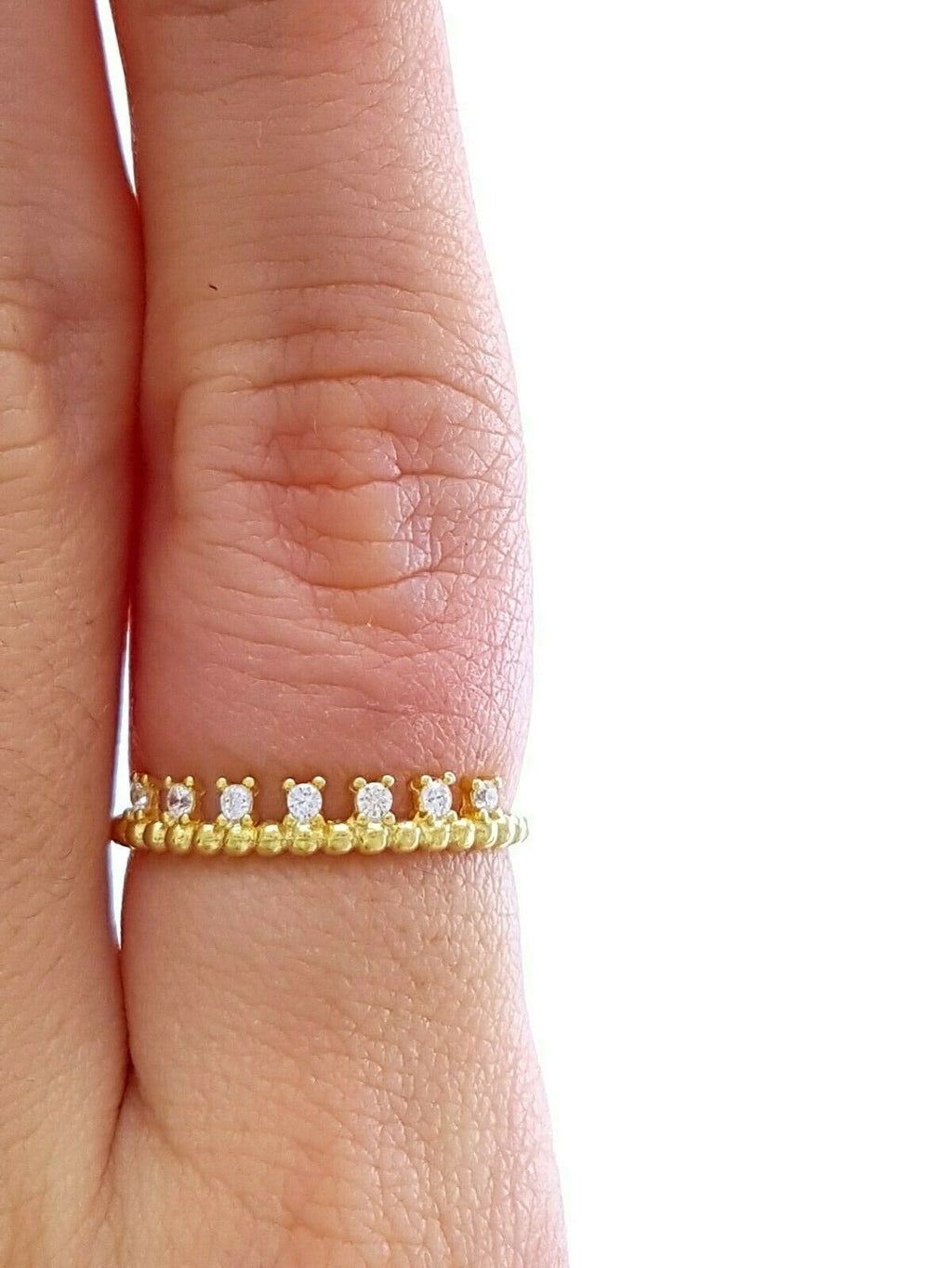 18k Gold Turkish Wholesale Handmade 925 Sterling Silver Jewelry Ball Band Mini Minimalist Thin Ring Trend Gift For her - Turkishsilverjewelry