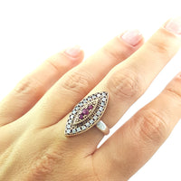 VICTORIAN ANTIQUE STYLE 925 STERLING SILVER RED LAB GEMSTONE RING 2553 - Turkishsilverjewelry