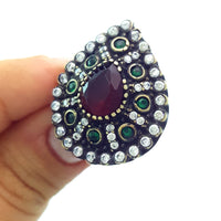 925 Sterling Silver Handmade Gemstone Turkish Jewelry Ladies Ring Authentic 2613 - Turkishsilverjewelry