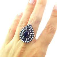 925 Sterling Silver Handmade Gemstone Turkish Jewelry Ladies Ring Authentic 2612 - Turkishsilverjewelry