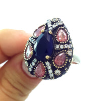 925 Sterling Silver Handmade Gemstone Turkish Jewelry Ladies Ring Authentic 2623 - Turkishsilverjewelry