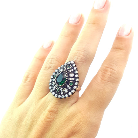925 Sterling Silver Handmade Gemstone Turkish Jewelry Ladies Ring Authentic 2615 - Turkishsilverjewelry
