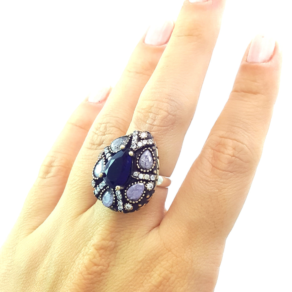 925 Sterling Silver Handmade Gemstone Turkish Jewelry Ladies Ring Authentic 2624 - Turkishsilverjewelry