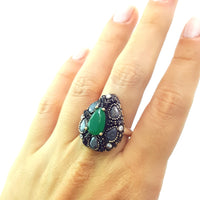 925 Sterling Silver Handmade Gemstone Turkish Jewelry Ladies Ring Authentic 2620 - Turkishsilverjewelry