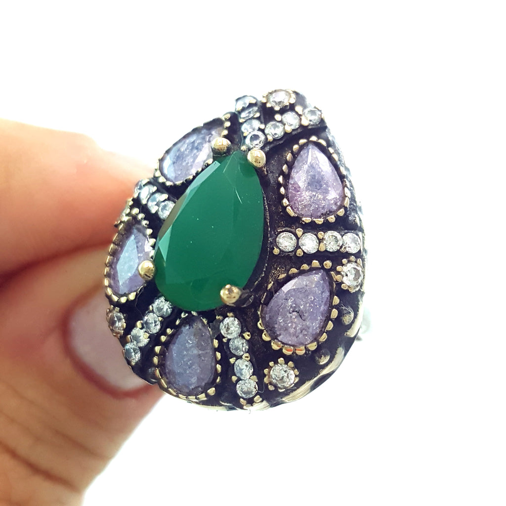 925 Sterling Silver Handmade Gemstone Turkish Jewelry Ladies Ring Authentic 2619 - Turkishsilverjewelry