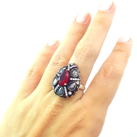 925 Sterling Silver Handmade Gemstone Turkish Jewelry Ladies Ring Authentic 2622 - Turkishsilverjewelry