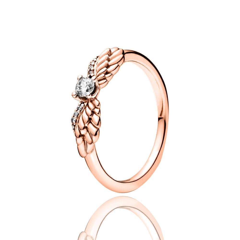 ROSE GOLD WOMAN AUTHENTIC WINTER 2020 SPARKLING ANGEL WINGS RING Turkish Wholesale Handmade 925 Sterling Silver Jewelry - Turkishsilverjewelry