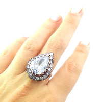 Harem Sultan 925 Silver Handmade Authentic Turkish Ladies Ring Size 7.5 2876 - Turkishsilverjewelry