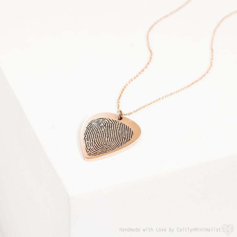Custom Actual Fingerprint Engraved Photo Necklace Turkish Wholesale Handmade 925 Sterling Silver Jewelry in Gold Plated - Turkishsilverjewelry