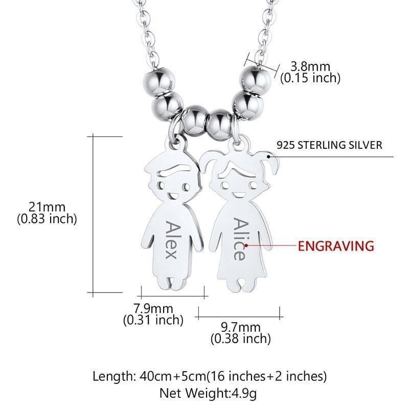 Mother's Necklace with 2-5 Children Charms Turkish Wholesale Handmade 925 Sterling Silver Jewelry - Turkishsilverjewelry