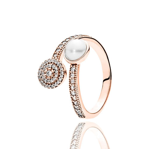 Elegant Beauty Pearl And Cz In Pouch Ring Turkish Wholesale Handmade 925 Sterling Silver Jewelry Rose Gold - Turkishsilverjewelry