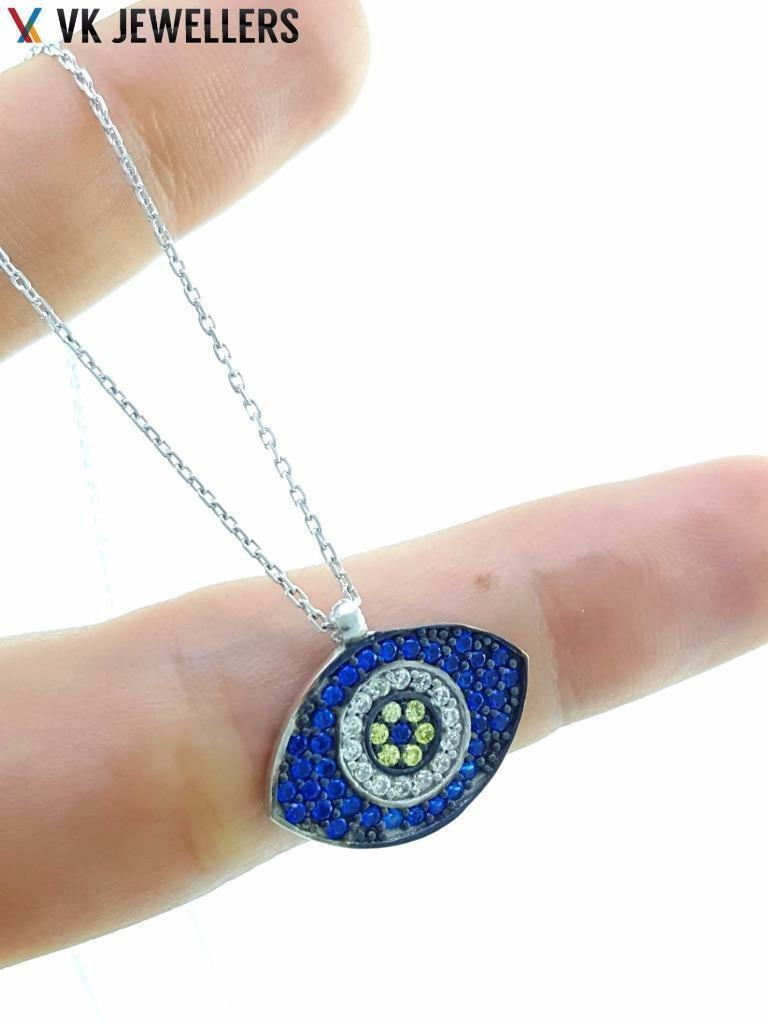 NEW Turkish Wholesale Handmade 925 Sterling Silver Jewelry OTTOMAN EVIL EYE WHITE GOLD PLATED NECKLACE 2877 - Turkishsilverjewelry