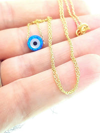 14K Gold Plated Turkish Wholesale Handmade 925 Sterling Silver Jewelry Evil Eye Necklace CZ 18'' N6 - Turkishsilverjewelry