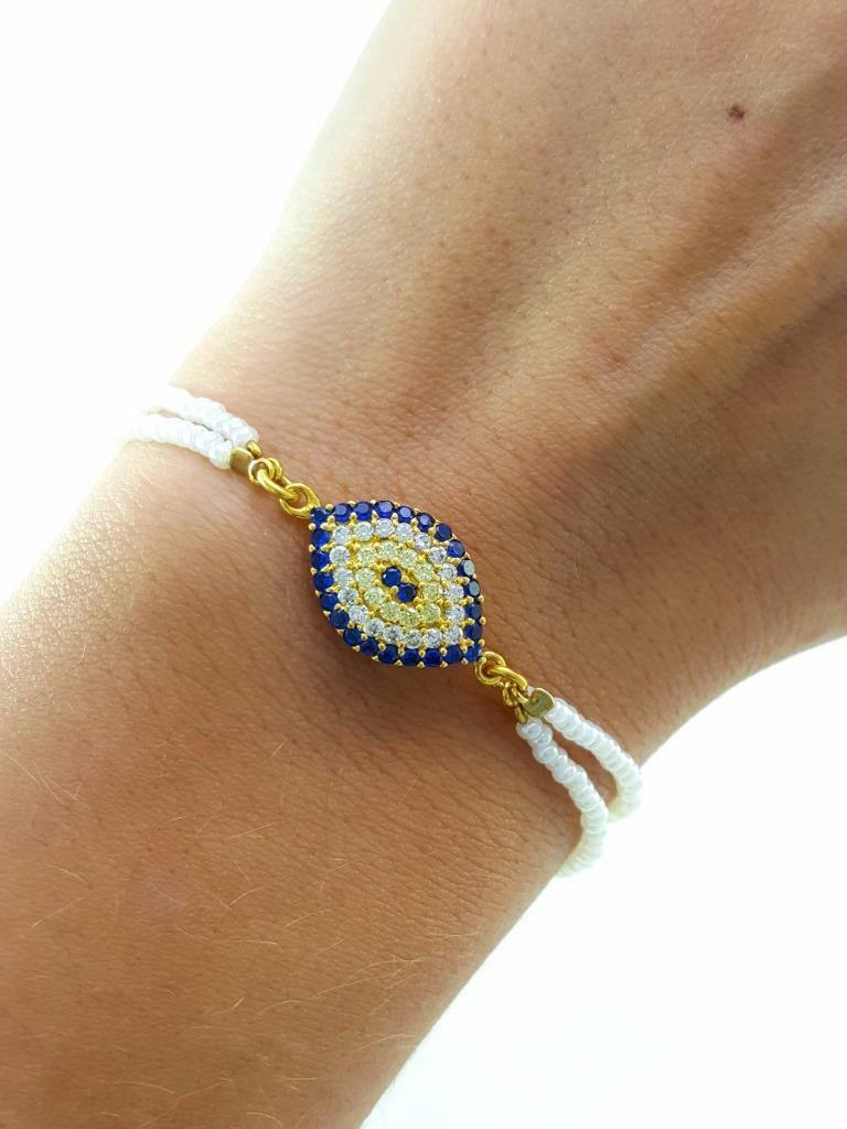 EVIL EYE NAZAR BEADED PEARL BRACELET Turkish Wholesale Handmade 925 Sterling Silver Jewelry B2074 - Turkishsilverjewelry