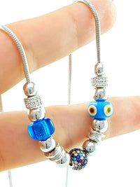 Turkish Greek Evil Eye Murano Beads Protective Charm Necklace Turkish Wholesale Handmade 925 Sterling Silver Jewelry Gift 2458-2 - Turkishsilverjewelry