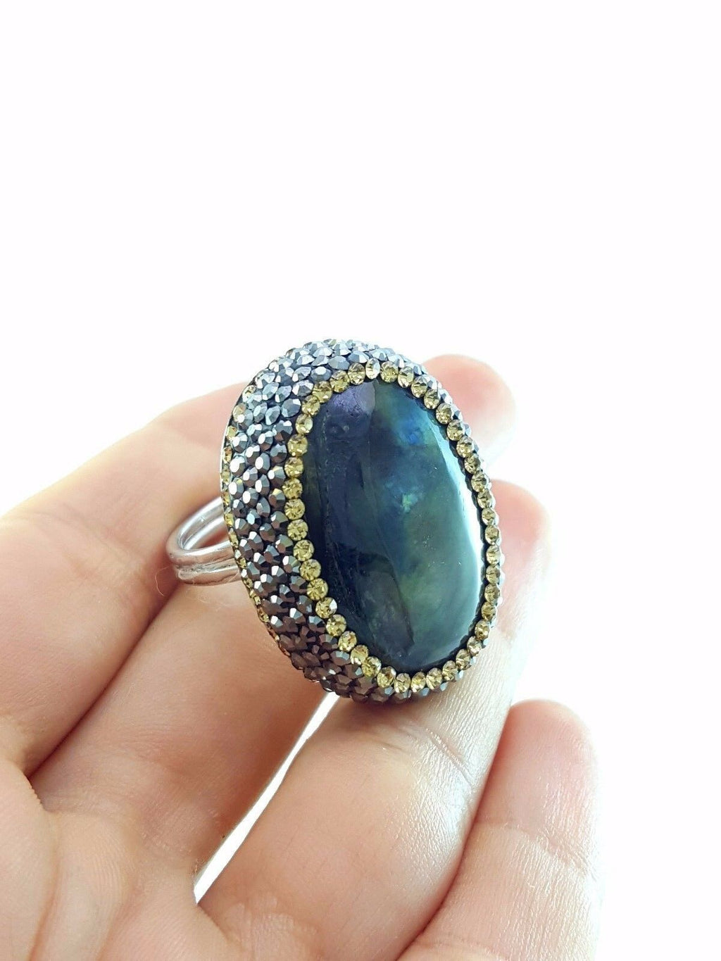 LABRADORITE DRUZY HAMMERED RING Turkish Wholesale Handmade 925 Sterling Silver Jewelry R1820 - Turkishsilverjewelry
