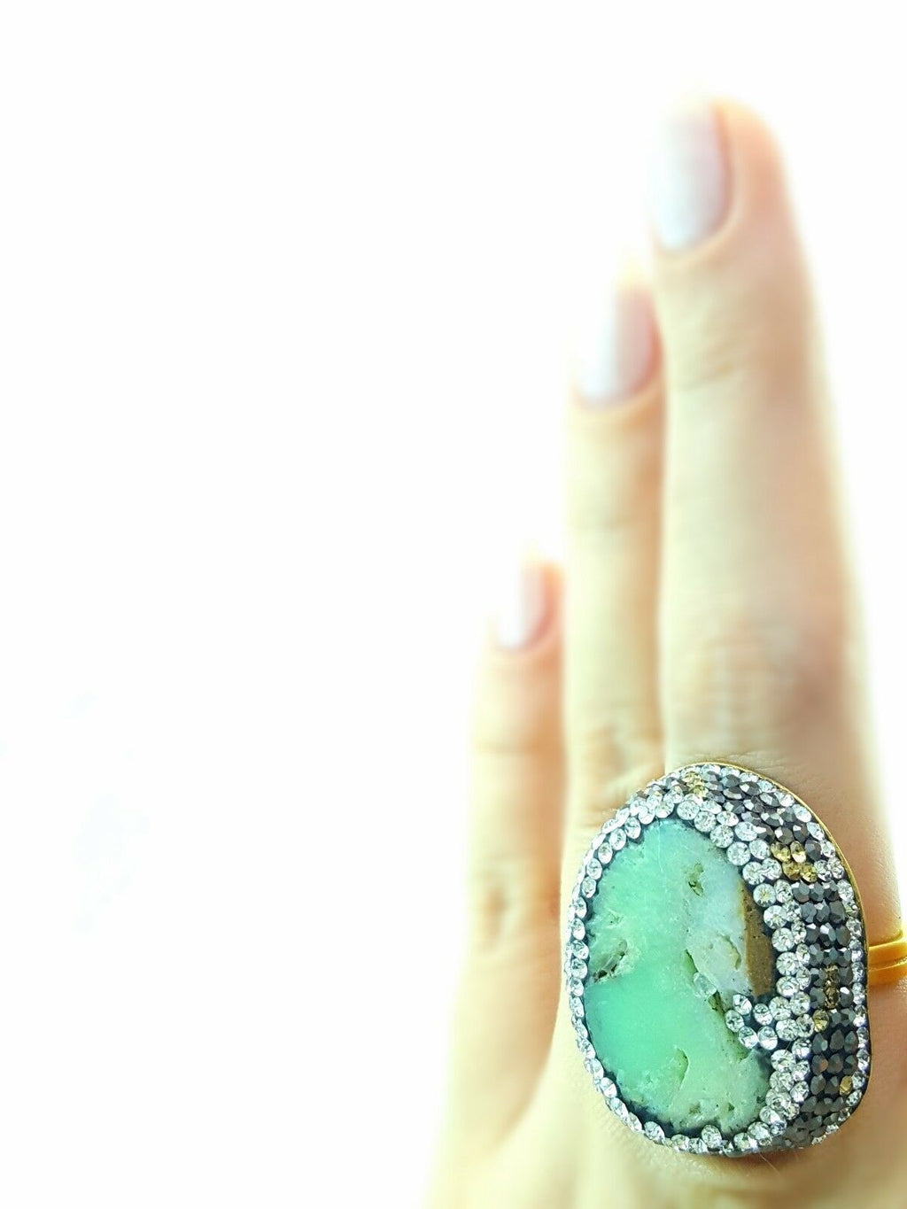 Amazonite Natural Stone Druzy Ring Turkish Wholesale Handmade 925 Sterling Silver Jewelry R1472 - Turkishsilverjewelry
