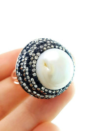 Swarovski One Of A Kind Turkish Wholesale Handmade 925 Sterling Silver Jewelry PEARL BRIDAL RING 2199 - Turkishsilverjewelry