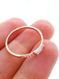 Rose Gold Turkish Wholesale Handmade 925 Sterling Silver Jewelry 2020 Baguette Mini Minimalist Ring Trend Gift For her - Turkishsilverjewelry
