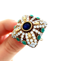 Ladies Victorian Style Handmade 925 Silver Sapphire Ring Turkish Jewelry 1515