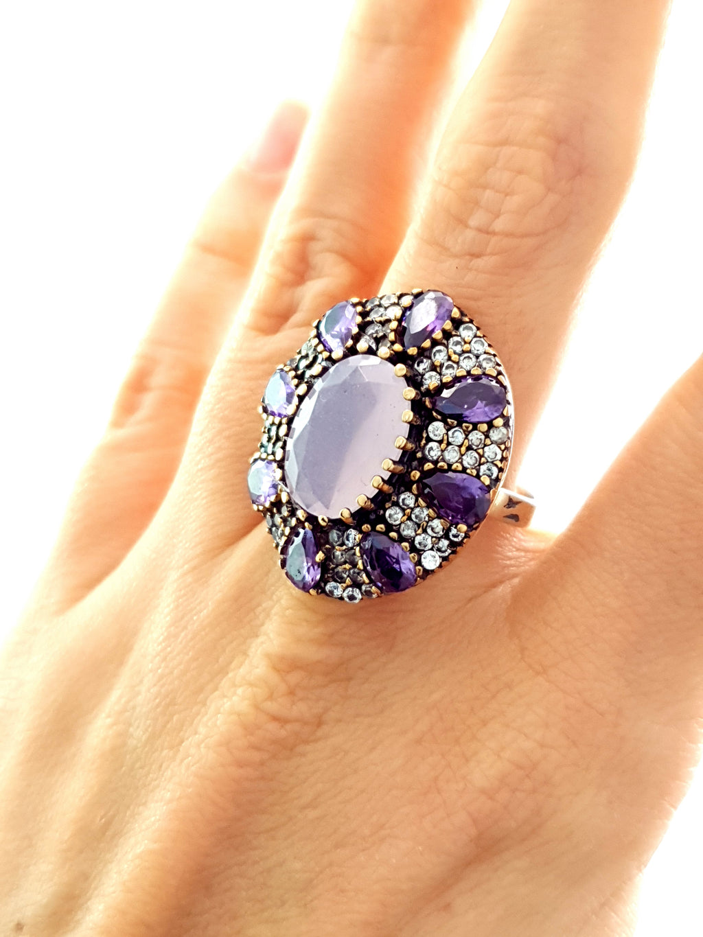 Ladies Victorian Style Handmade 925 Silver Aquamarine Ring Turkish Jewelry 1511