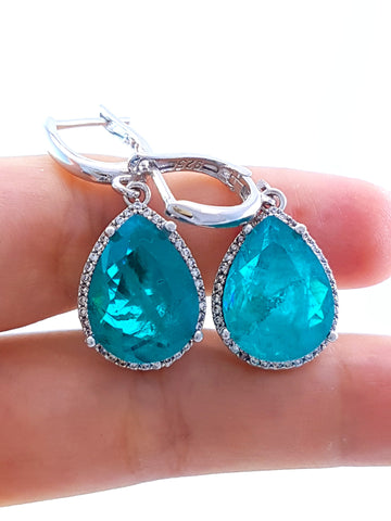 Top Quality Paraiba Tourmaline Earrings Stunning Turkish Wholesale Handmade 925 Sterling Silver Jewelry 2319 - Turkishsilverjewelry