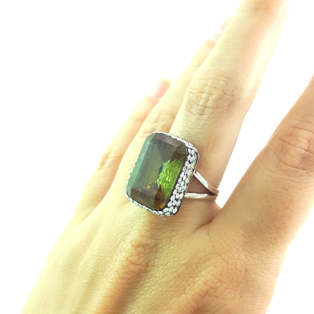 TURKISH 925 STERLING SILVER CHANGİNG COLOR DRUZY ADJUSTABLE RING R1535 - Turkishsilverjewelry