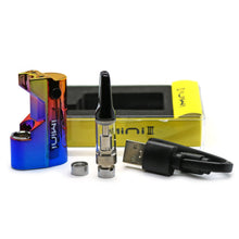 Load image into Gallery viewer, iMini III Kit all elements. iMini Battery, vape cartridge, usb charging cable, two 510 connectrors