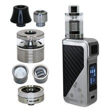 Load image into Gallery viewer, Extreme Wax Vaporizer set to max 60W power with plastic heat resistant and stailess mouthpieces, tank and 2 types of heater: triple coil and ceramic bowl