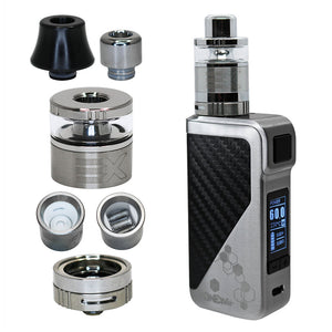Extreme Wax Vaporizer set to max 60W power with plastic heat resistant and stailess mouthpieces, tank and 2 types of heater: triple coil and ceramic bowl