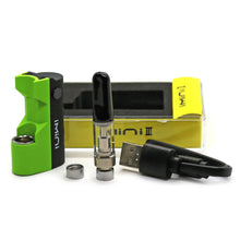 Load image into Gallery viewer, iMini III Kit all elements. Green iMini Battery, vape cartridge, usb charging cable, two 510 connectrors