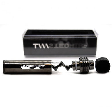 Mini Glass Blunt Pipe disassembled showing rubber stopper, Threaded Twisted Plunger  with filtrating mouthpiece and German made glass body with protective metal sleeve