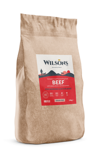Wilsons working dog food in a Paper, Eco-friendly bag. Beef Flavour with a red label. 15KG