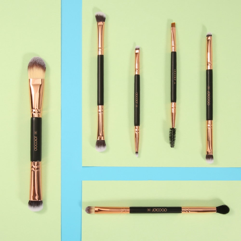 Rose Gold - 6 Pieces Double-Ended Eye Brush Set