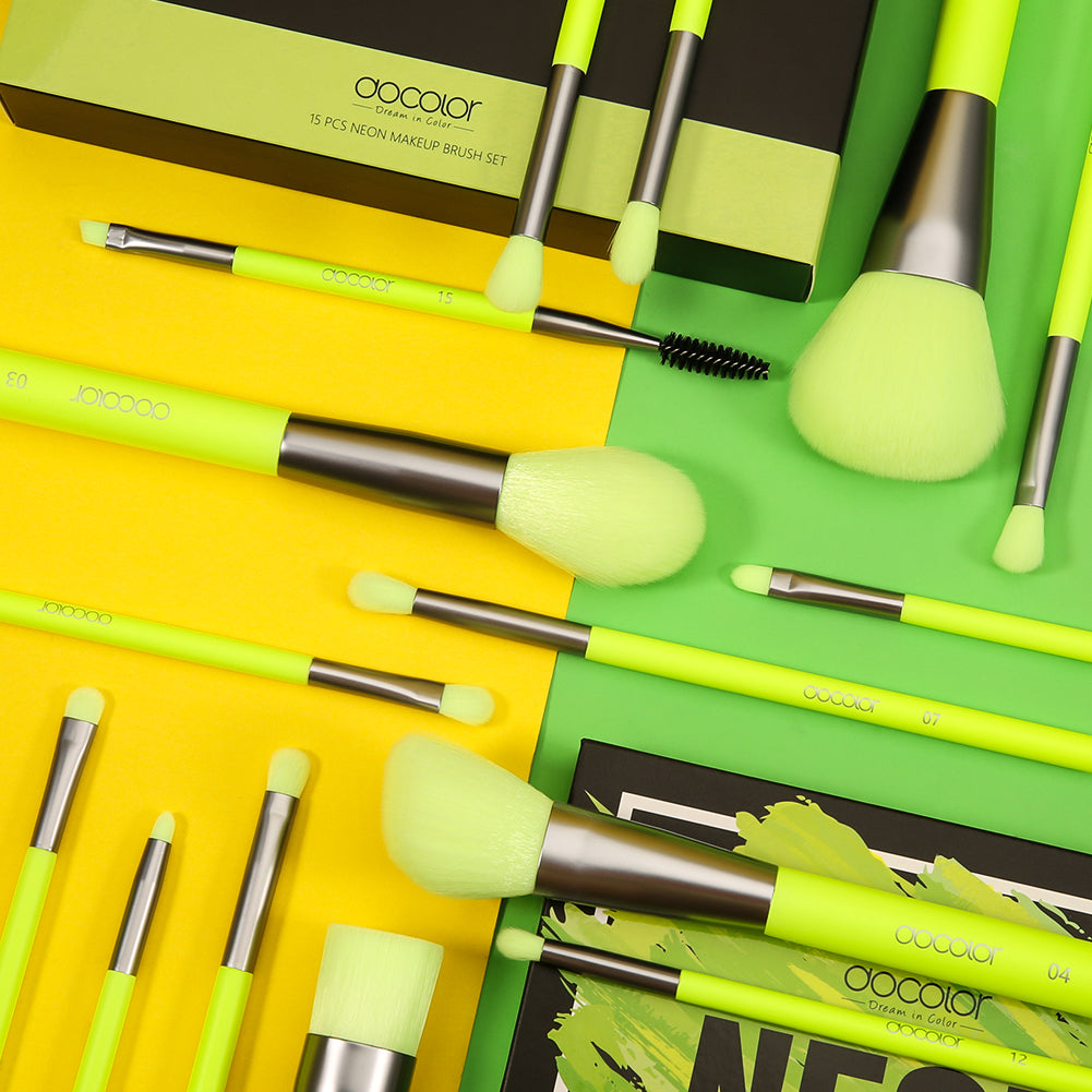 Neon Green - 15 Pieces Syenthetic Brush Set