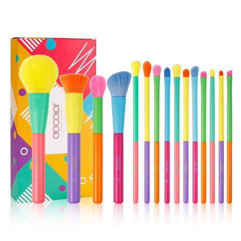 (Free Shipping) Dream of Color - 15 Pieces Colourful Makeup Brush Set