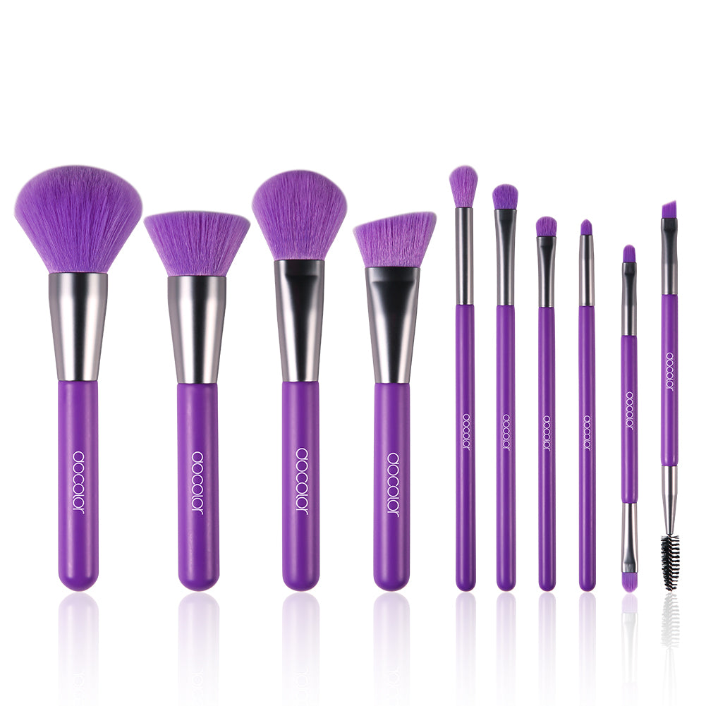Neon Purple - 10 Pieces Synthetic Makeup Brush Set